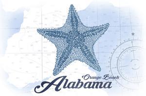 Orange Beach, Alabama - Starfish - Blue - Coastal Icon by Lantern Press