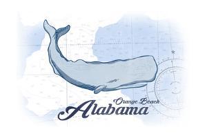 Orange Beach, Alabama - Whale - Blue - Coastal Icon by Lantern Press