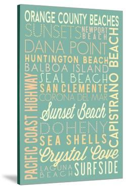 Orange County Beaches, California - Typography by Lantern Press