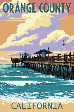 Orange County, California - Pier and Sunset by Lantern Press