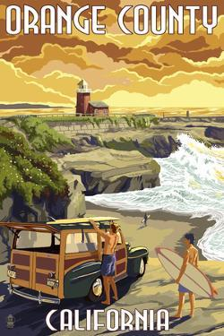 Orange County, California - Woody and Beach by Lantern Press