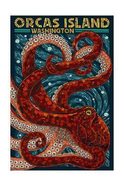 Orcas Island, Washington - Octopus Mosaic by Lantern Press