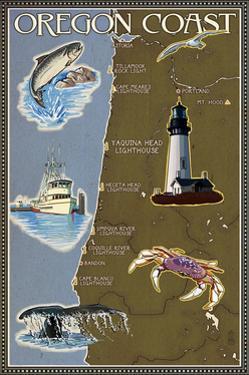 Oregon Coast - Map by Lantern Press