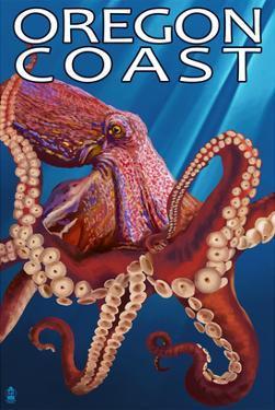 Oregon Coast - Red Octopus by Lantern Press