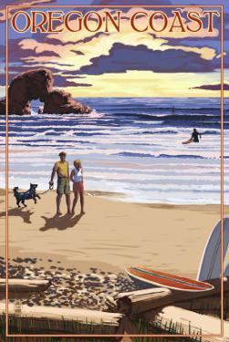 Oregon Coast Scene at Sunset by Lantern Press