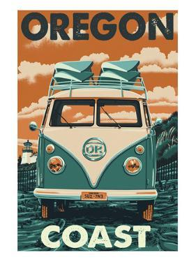 Oregon Coast - VW Van by Lantern Press