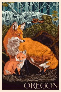 Oregon - Fox and Kit by Lantern Press