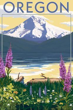 Oregon - Mountain and Lake by Lantern Press