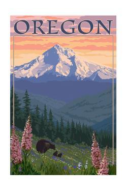 Oregon - Mt. Hood Bear Family and Spring Flowers by Lantern Press