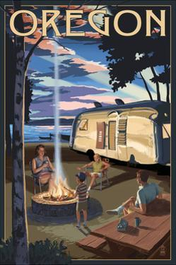 Oregon - Retro Camper and Lake by Lantern Press