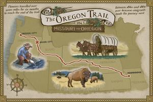 Oregon Trail Map by Lantern Press