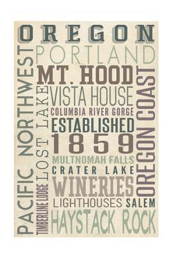 Oregon - Typography by Lantern Press