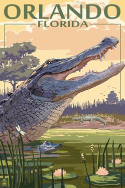 Orlando, Florida - Alligator Scene by Lantern Press
