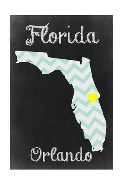 Orlando, Florida - Chalkboard State Heart by Lantern Press