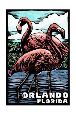 Orlando, Florida - Flamingo - Scratchboard by Lantern Press