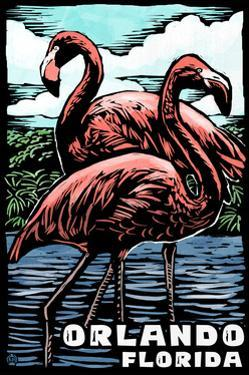 Orlando, Florida - Flamingo - Scratchboard by Lantern Press