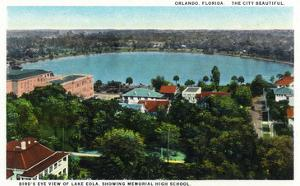 Orlando, Florida - Lake Eola Aerial, Memorial High School by Lantern Press