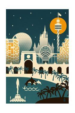 Orlando, Florida - Retro Skyline (no text) by Lantern Press