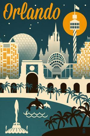 Orlando, Florida - Retro Skyline by Lantern Press