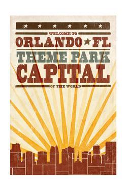 Orlando, Florida - Skyline and Sunburst Screenprint Style by Lantern Press