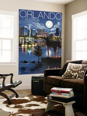 Orlando, Florida - Skyline at Night by Lantern Press