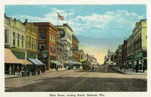 Oshkosh, Wisconsin - Main Street North Scene by Lantern Press