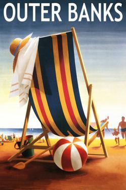 Outer Banks, North Carolina - Beach Chair and Ball by Lantern Press