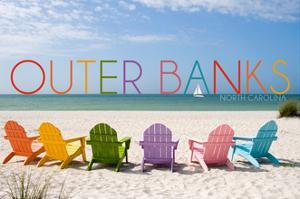 Outer Banks, North Carolina - Colorful Chairs by Lantern Press