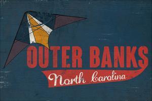Outer Banks, North Carolina - Distressed Kite by Lantern Press