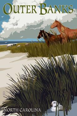 Outer Banks, North Carolina - Horses and Dunes by Lantern Press