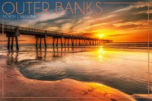 Outer Banks, North Carolina - Pier and Sunset by Lantern Press