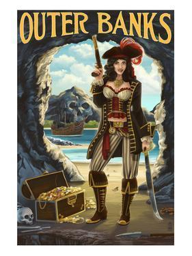 Outer Banks, North Carolina - Pirate Pinup Girl by Lantern Press