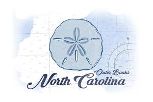 Outer Banks, North Carolina - Sand Dollar - Blue - Coastal Icon by Lantern Press
