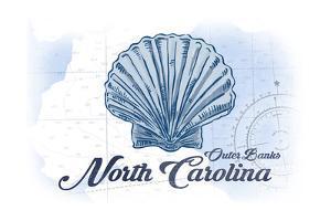 Outer Banks, North Carolina - Scallop Shell - Blue - Coastal Icon by Lantern Press