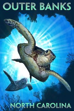 Outer Banks, North Carolina - Sea Turtles Diving by Lantern Press