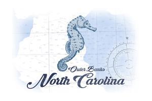 Outer Banks, North Carolina - Seahorse - Blue - Coastal Icon by Lantern Press