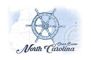 Outer Banks, North Carolina - Ship Wheel - Blue - Coastal Icon by Lantern Press