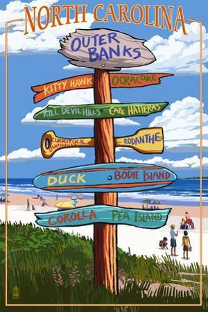 Outer Banks, North Carolina - Sign Destinations by Lantern Press