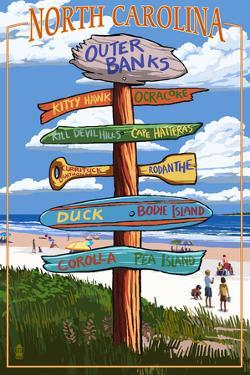 Outer Banks, North Carolina - Sign Destinations by Lantern Press