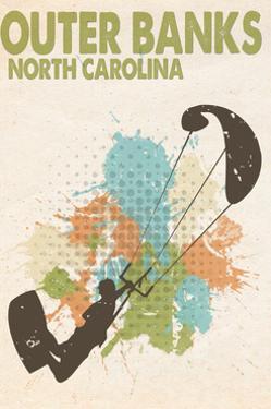 Outer Banks, North Carolina - Splatter Paint Kite Surfer by Lantern Press
