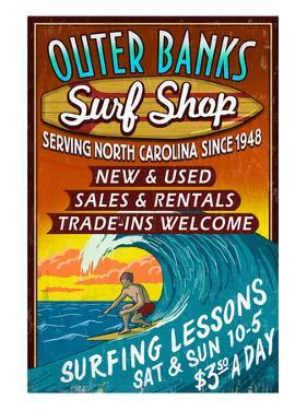 Outer Banks, North Carolina - Surf Shop by Lantern Press