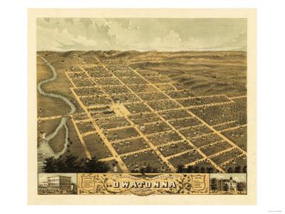 Owatonna, Minnesota - Panoramic Map by Lantern Press