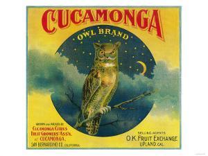 Owl Orange Label - Cucamonga, CA by Lantern Press