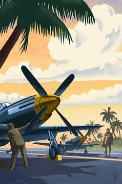 P-51 Mustang at Air Field by Lantern Press