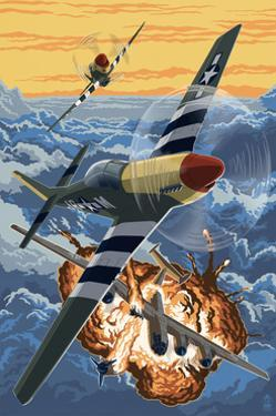 P-51 Mustang Mission with Bomber (Image Only) by Lantern Press
