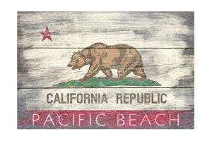Pacific Beach, California - Barnwood State Flag by Lantern Press