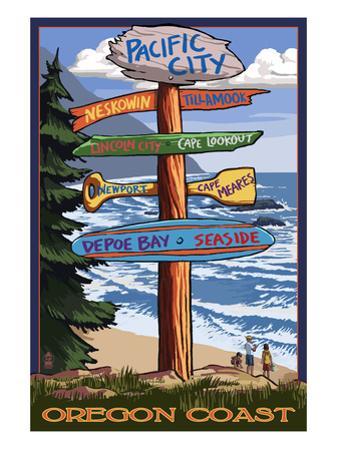 Pacific City, Oregon Destinations Sign by Lantern Press