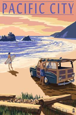 Pacific City, Oregon - Woody on Beach by Lantern Press
