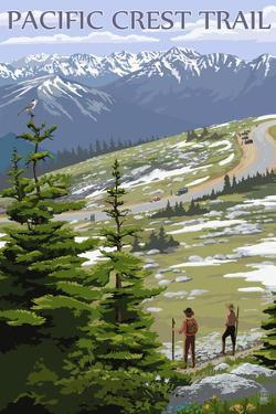 Pacific Crest Trail and Hikers by Lantern Press