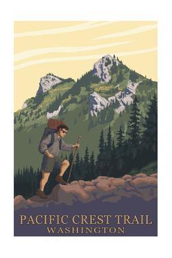 Pacific Crest Trail, Washington - Mountain Hiker by Lantern Press